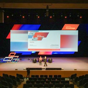 Auditorium backdrop at EMEA Commercial Meeting by Thermofisher 2019