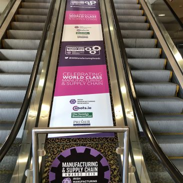 Escalator branding at Manufacturing Expo 2019