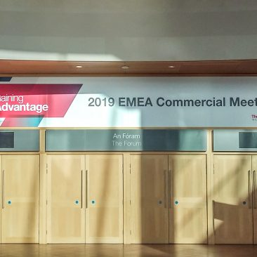 Forum over-the-door sign at EMEA Commercial Meeting by Thermofisher 2019