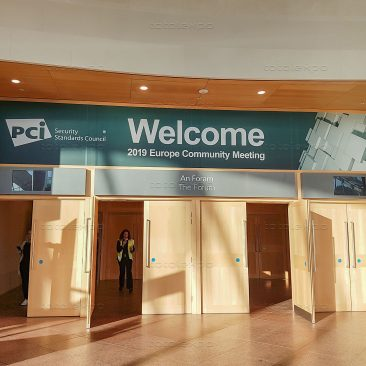 Forum overhead sign at PCI Security Congress 2019