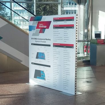 Freestanding floorplan sign at EMEA Commercial Meeting by Thermofisher 2019