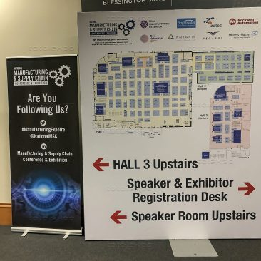 Freestanding floorplan sign at Manufacturing Expo 2020