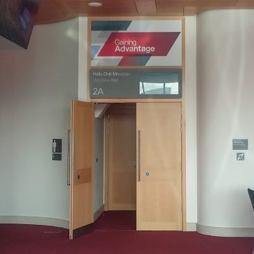 Over-the-door signage at EMEA Commercial Meeting by Thermofisher 2019