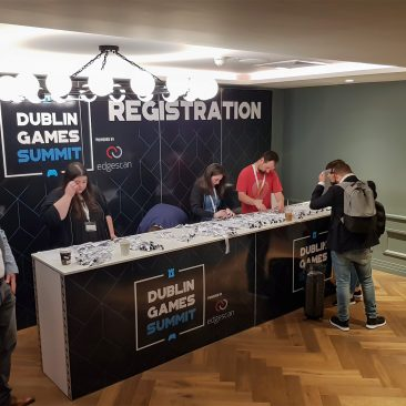 Registration desk at Dublin Games Summit Alex Hotel 2018