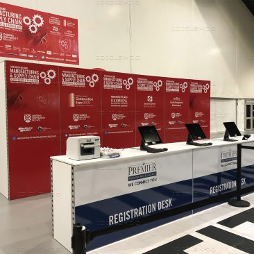 Registration desk at Northern Ireland Manufacturing Expo 2019