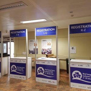 Registration desks at Wind Energy Science Conference 2019