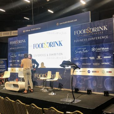 Stage backdrop at Food & Drink 2019