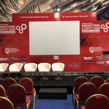 Stage backdrop at Northern Ireland Manufacturing Expo 2019