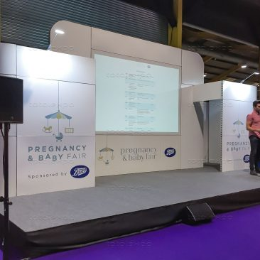 Stage backdrop at Pregnancy & Baby Fair October 2019