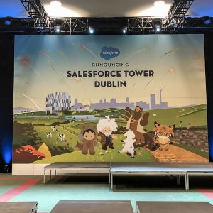 Stage backdrop at Salesforce Tower Dublin 2019