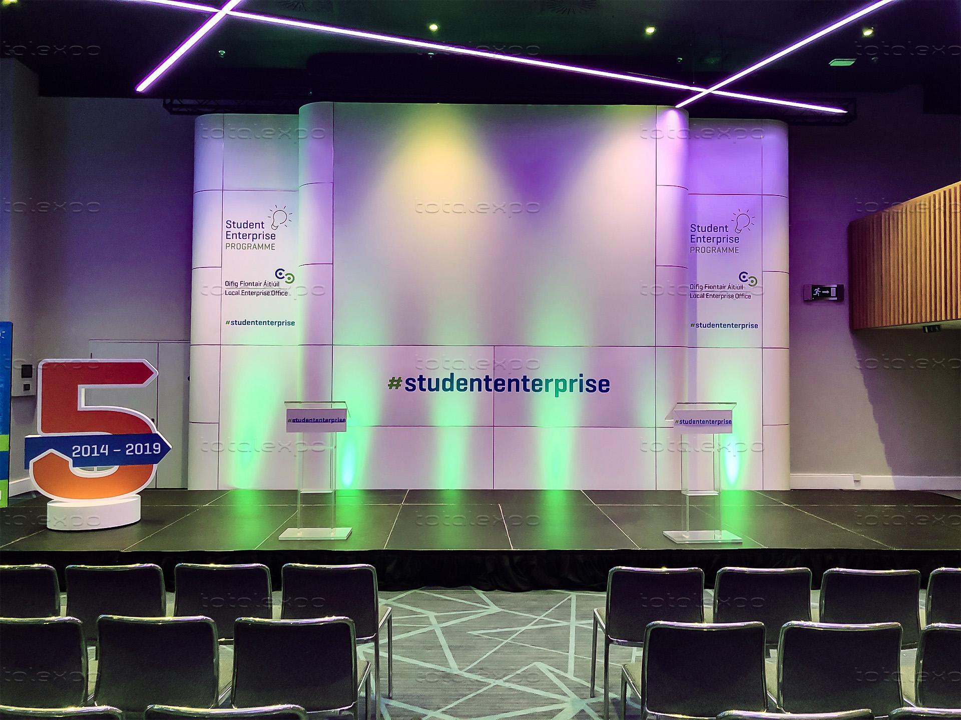 Stage backdrop at Student Enterprise Awards at Croke Park
