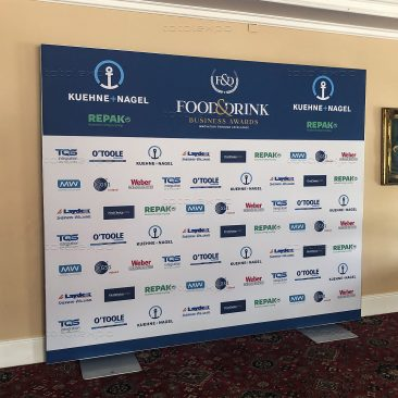 Step & repeat backdrop at Food & Drink 2019