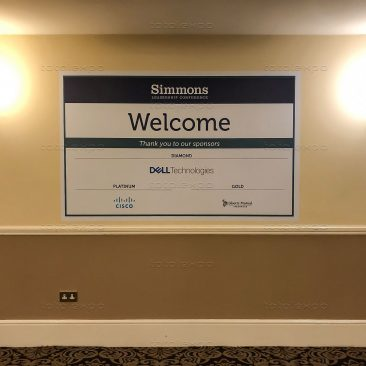Welcome sign at Simmons Leadership Conference 2019