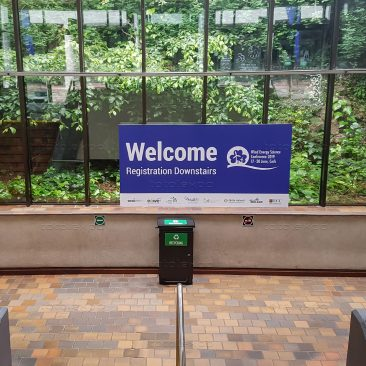 Welcome sign at Wind Energy Science Conference 2019