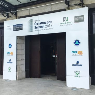 RDS main hall entrance branding at Construction Summit 2017